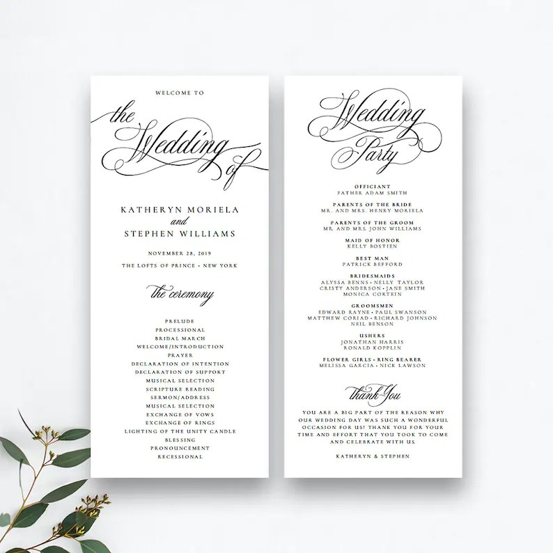 Classic Elegant Wedding Programs Template Wedding Ceremony Etsy