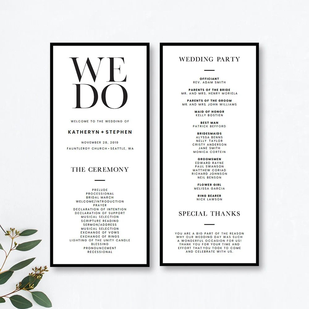 Minimalist Wedding Program Templates Printable Minimal Etsy