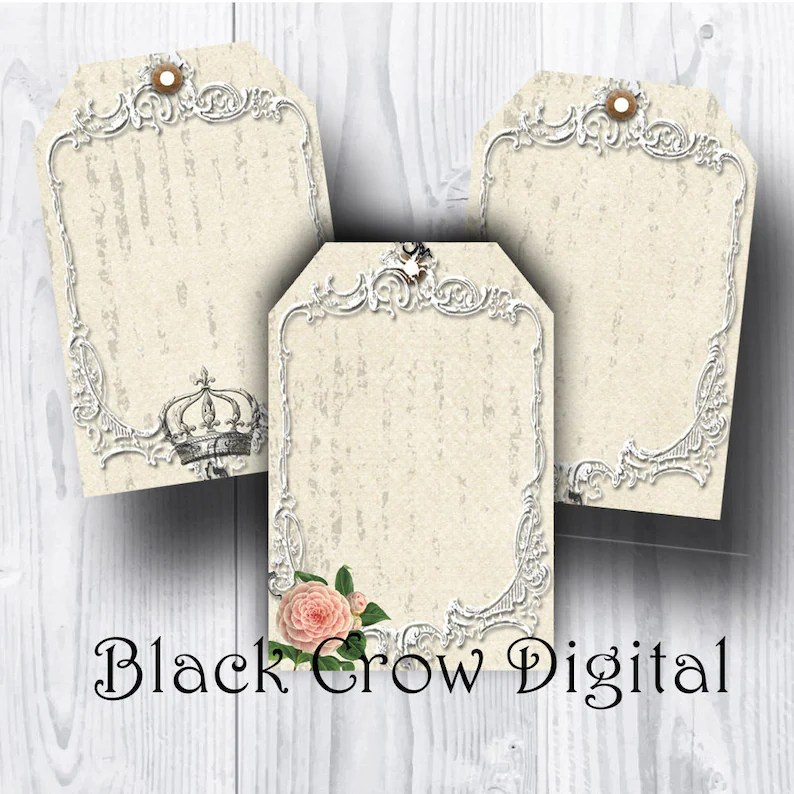 Shabby Gift Tags Vintage Roses  Crowns Hang Tags Blank Etsy