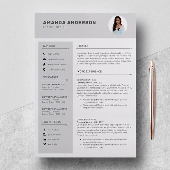 Resume Template Professional CV Template Cover Letter Etsy