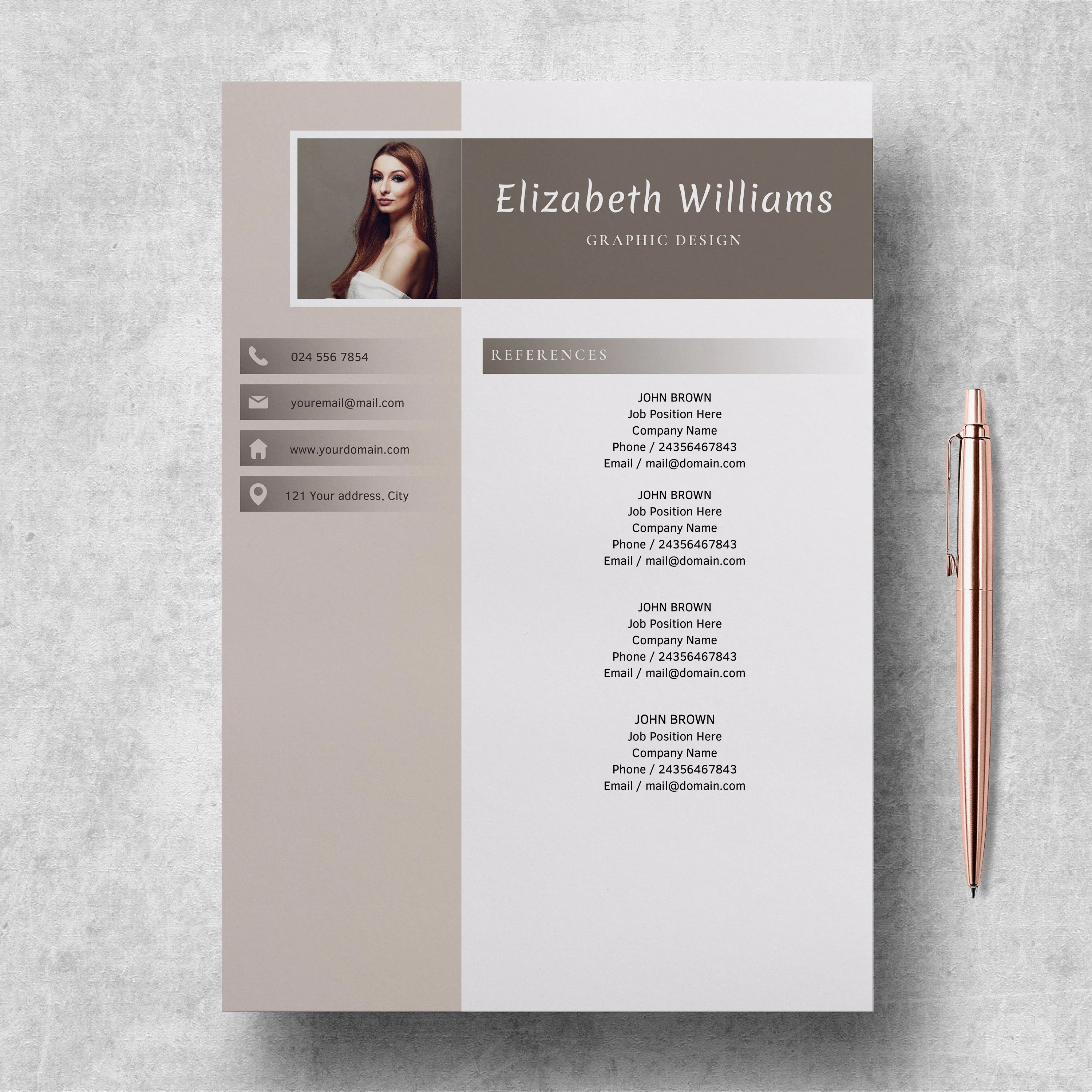 Resume Template for Word and Pages CV Template Etsy