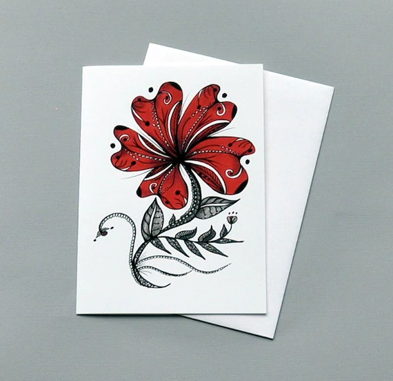 Red Flower Botanical Print Anniversary Card Etsy