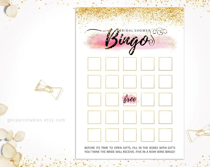 Pink Gold Bridal Shower Bingo Game \u2014 Editable Template \u2014 Printable