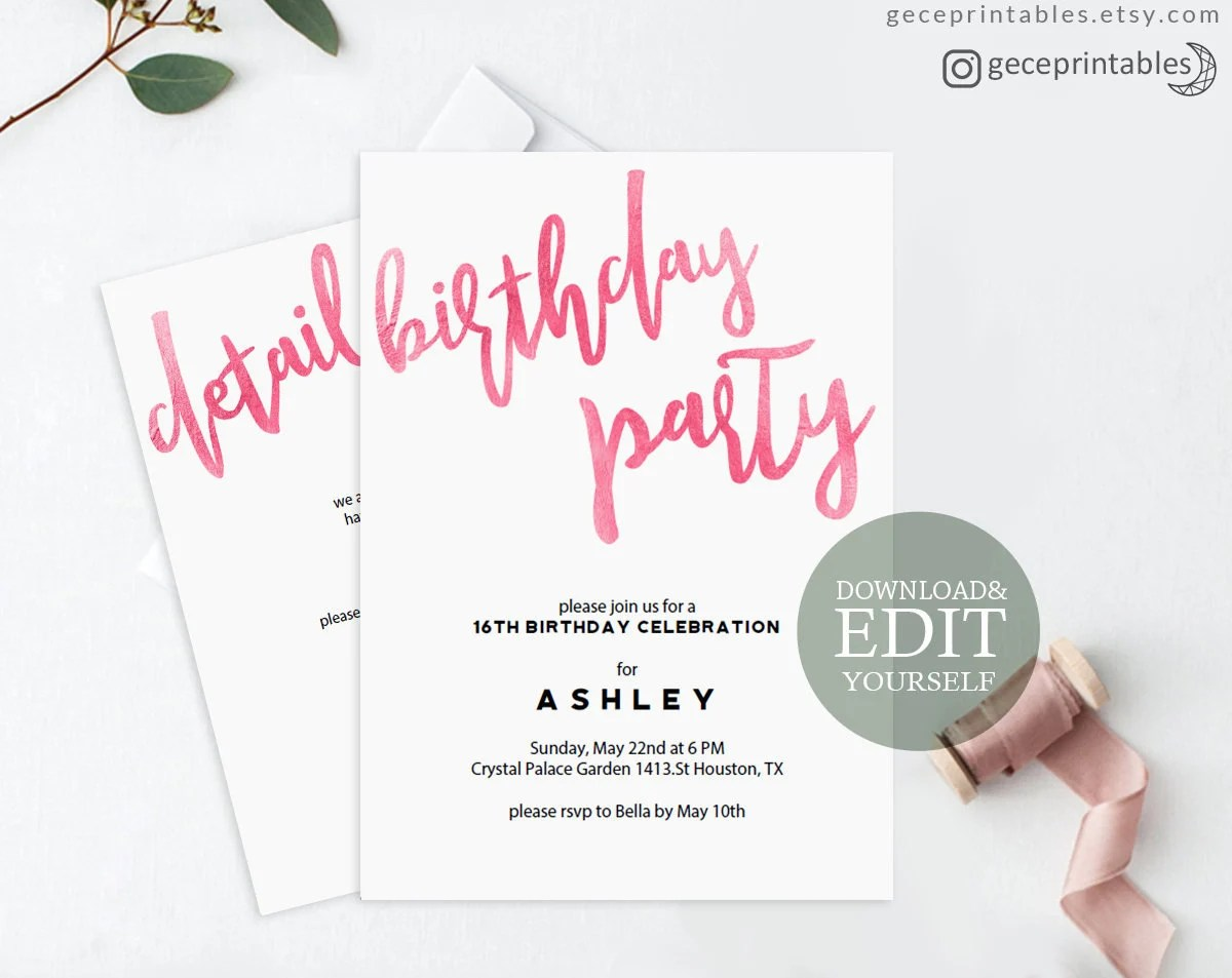 Pink Birthday Invitation, Editable PDF Invitation Template