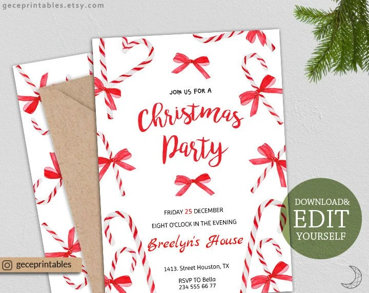 Editable Christmas Party Invitation, instant download, holiday party