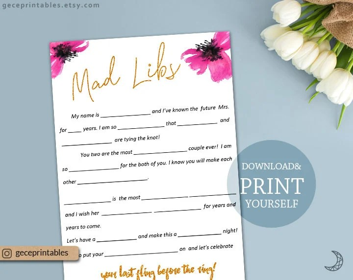 Mad Libs Printable, wedding mad libs bridal shower, pink gold