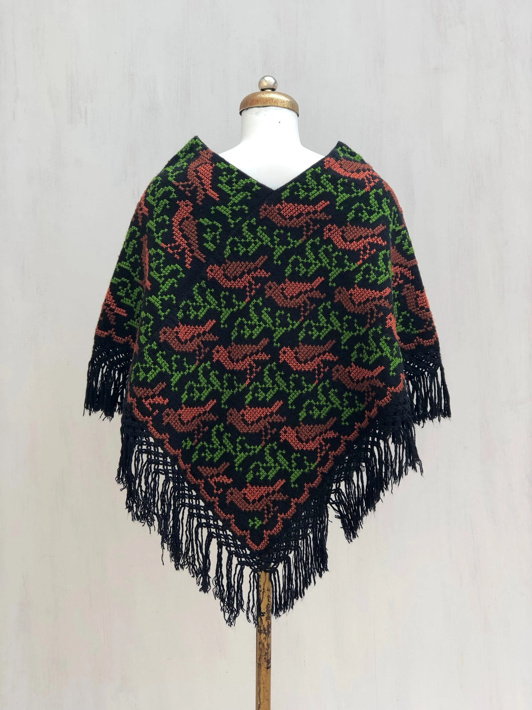 Banken Rofra Home Hand Woven Mexican Poncho With Embroidered Cross Stitch Birds Woven Poncho Poncho Mexican Woven Mexican Shawl Mexican Embroidered