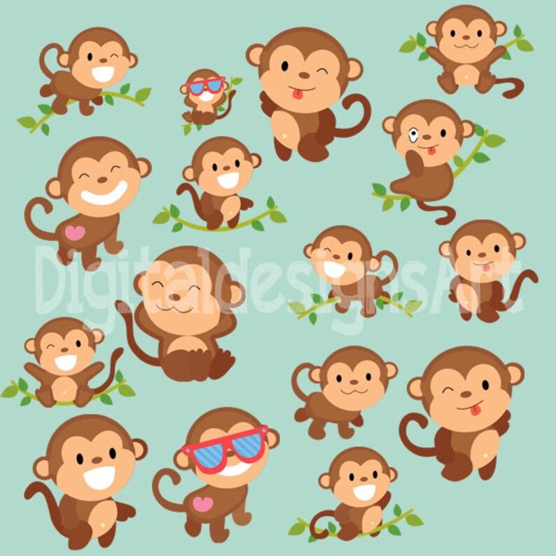 Monkey clipart monkey digital clipart monkey printable Etsy