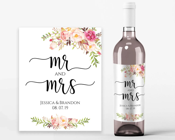 Wedding Wine Labels Wedding Wine Printable Wine Label Template Wine Bottle  Labels PDF Instant Download Mr and Mrs Wine Bottles Pastel Blooms