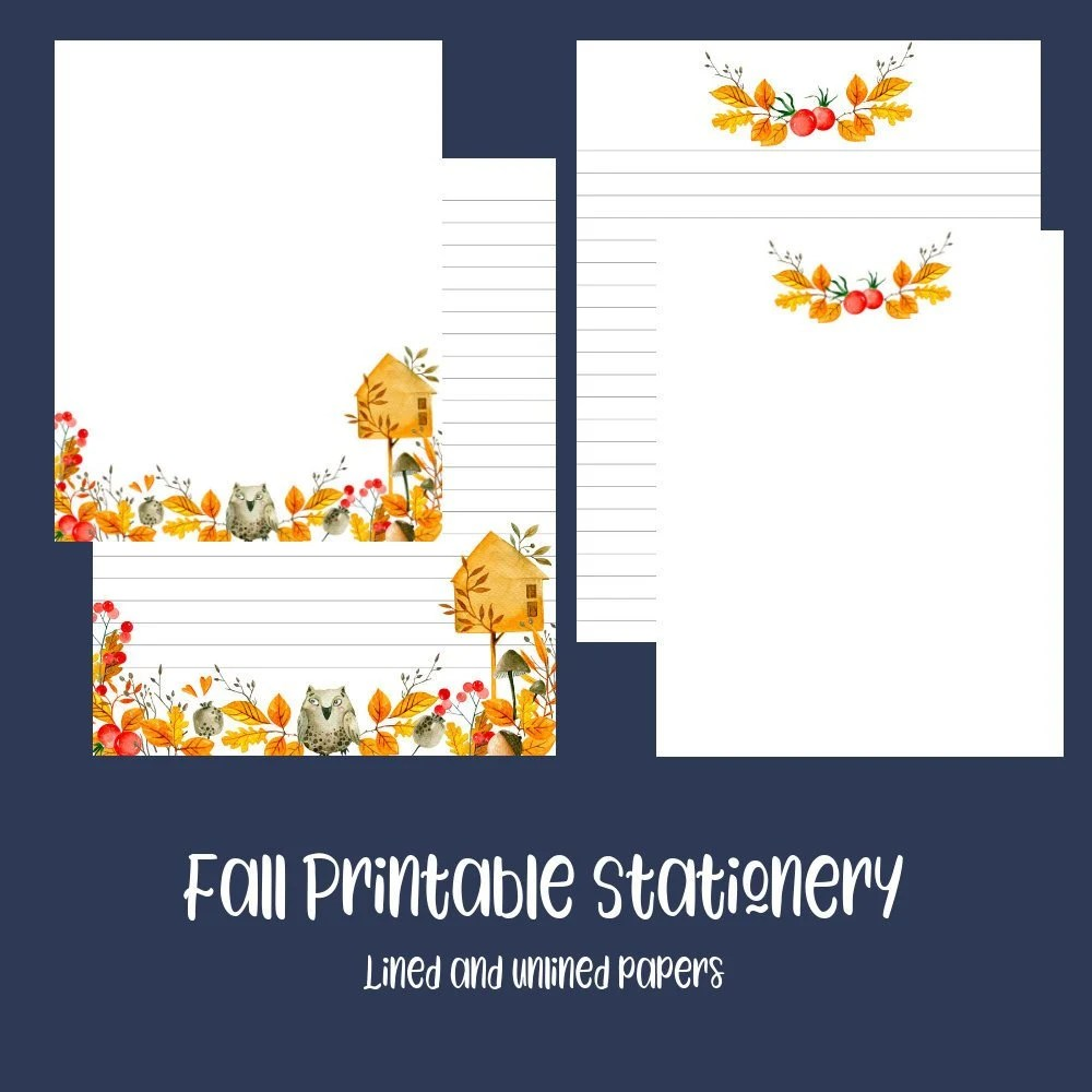Fall Leaves Printable Stationery Digital Download Writing Etsy