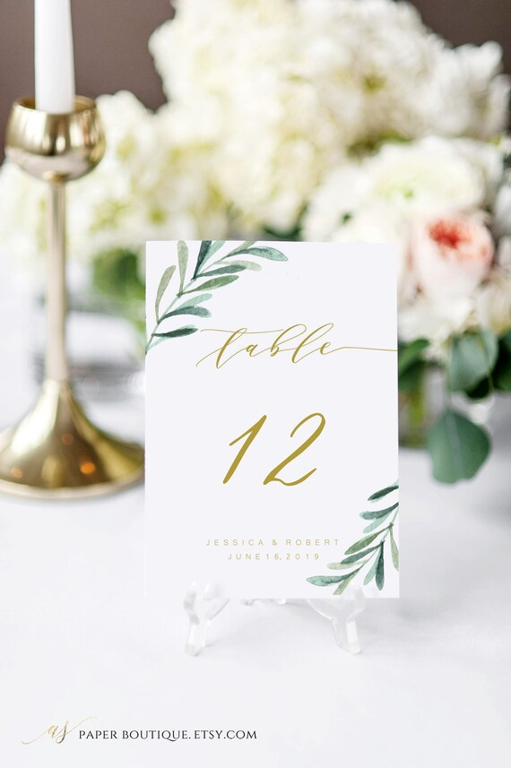 Greenery Table Number Cards Template Printable Table Numbers Etsy