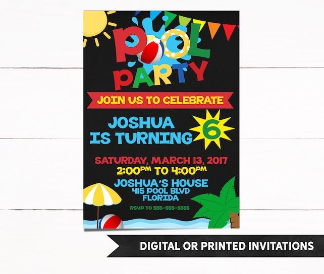 Pool Party Invitation, Pool Party Birthday Invitation, Boy Pool