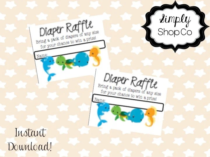 Ocean theme baby shower diaper raffle tickets printable you Etsy