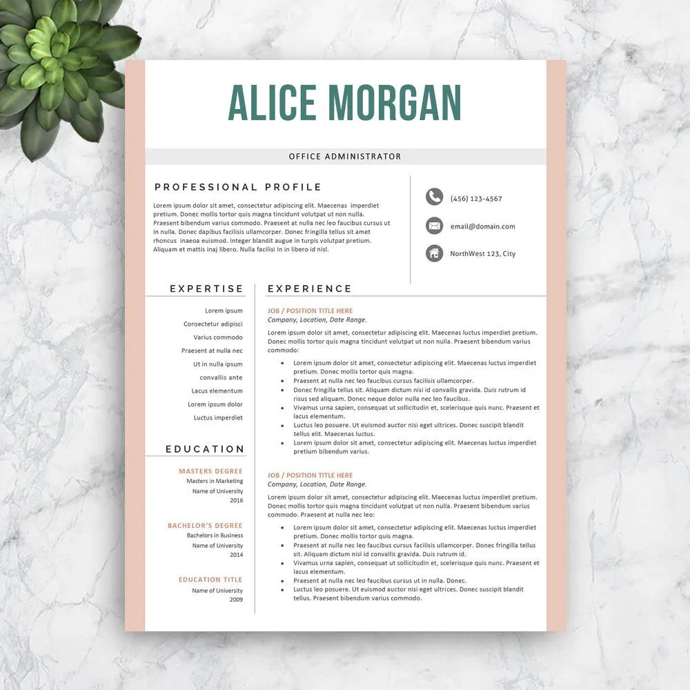 SALE Resume Template Professional Resume Template Modern Etsy