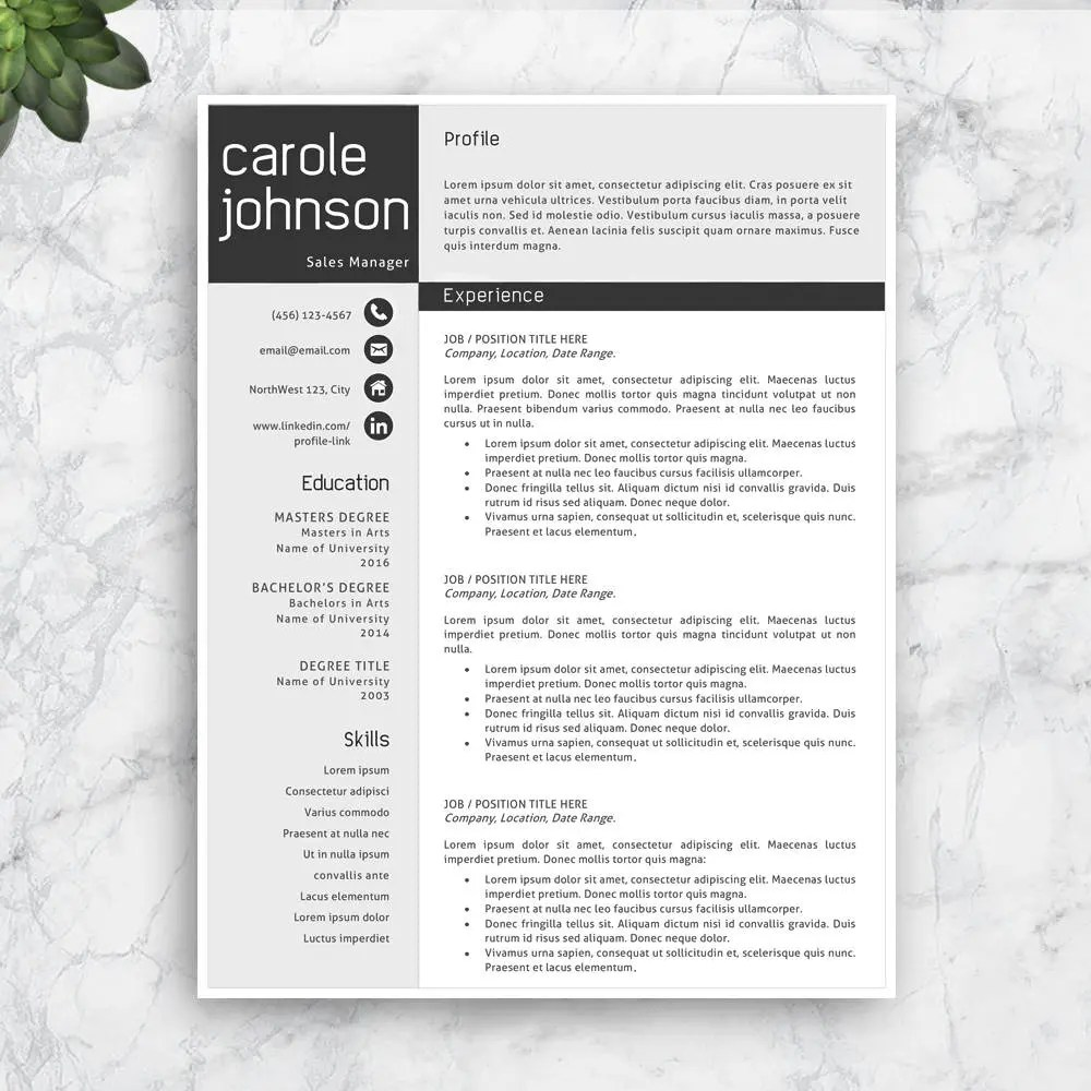 SALE Modern Resume Template Professional Resume Template Etsy