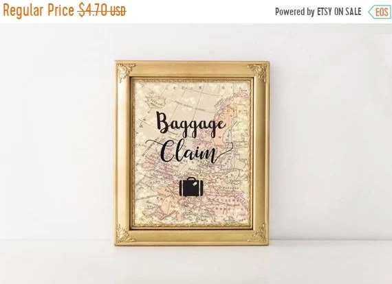 ON SALE Printable Baggage Claim Sign World Map 8x10 Travel Etsy