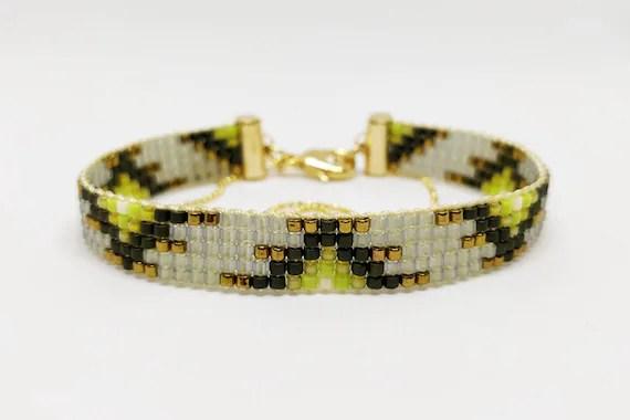 Khaki Bronze Colors Loom Beaded Bracelet With Ball Chain