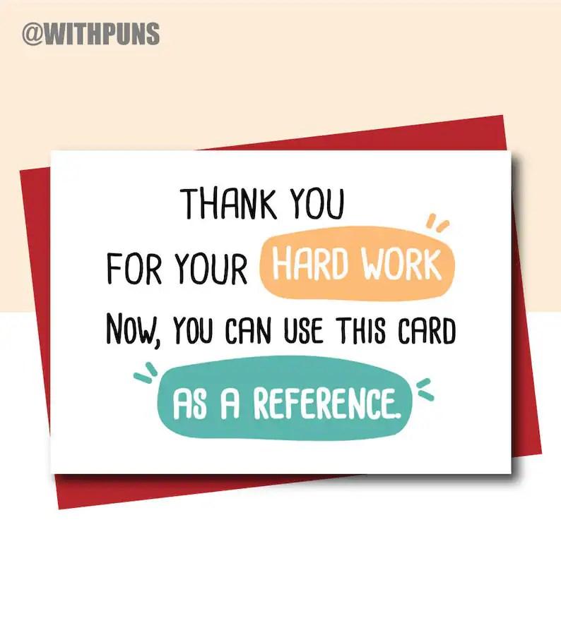Funny New Job Card farewell cards Leaving Card hard work Etsy