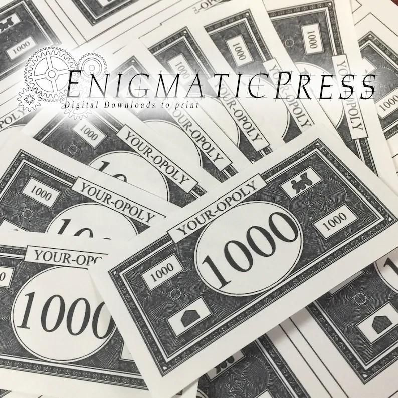 Editable Monopoly Money PDF Sheet of 8 b/w bills digital Etsy