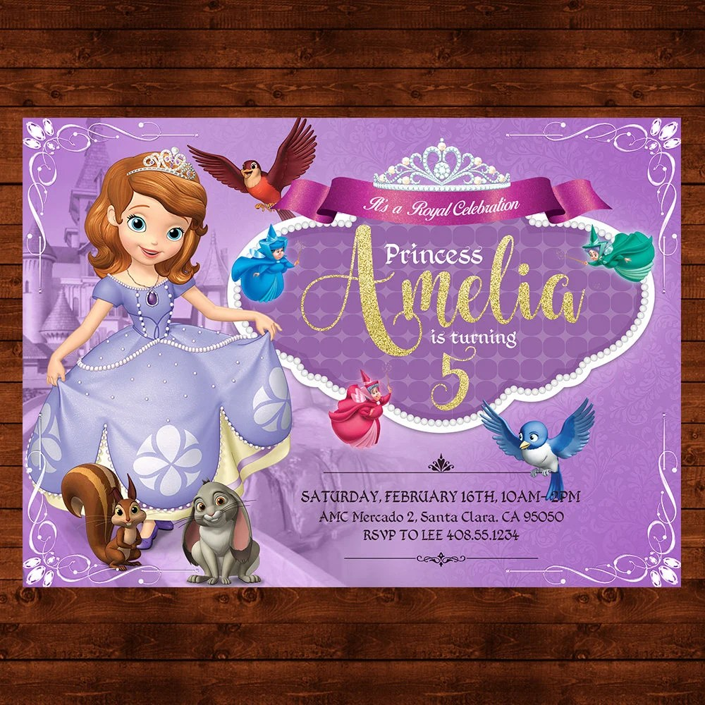 Sofia the First Birthday Invitation, Sofia the First Party Invite