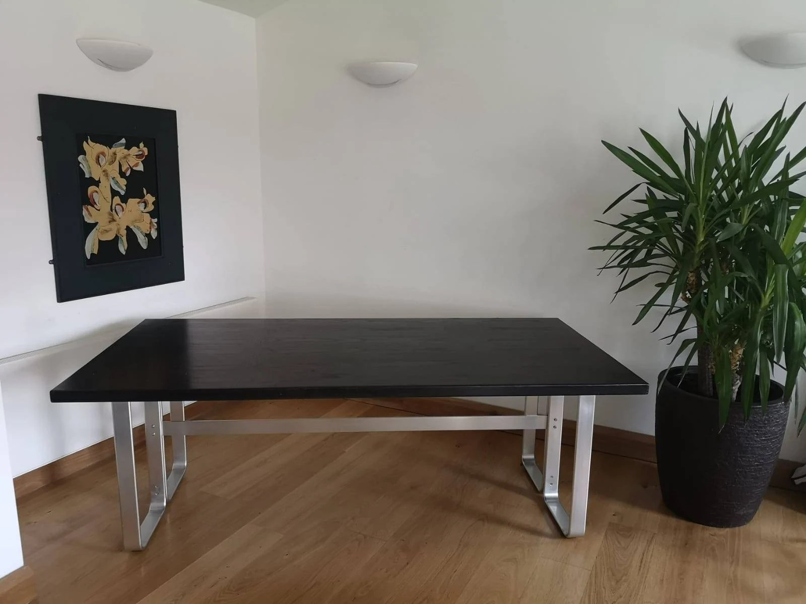 Scandinavian Möbel Mid Century Modern Karl Erik Ekselius For Joc Möbel Dining Table Desk With Aluminium Base And Ebonised Oak Top Swedish Design Piece