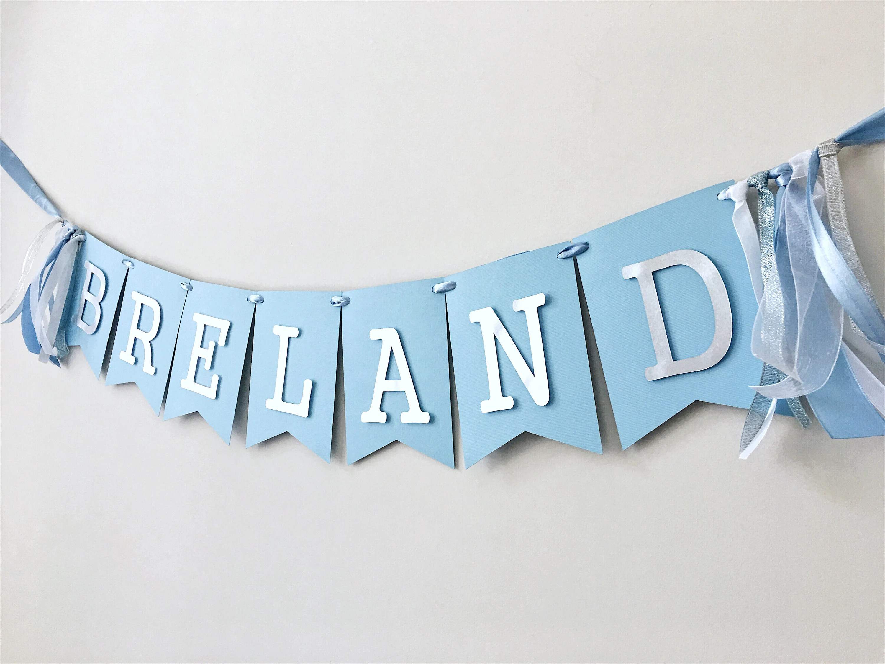 Custom Boy Name Banner Personalized Baby Name Banner Boy 1st Etsy