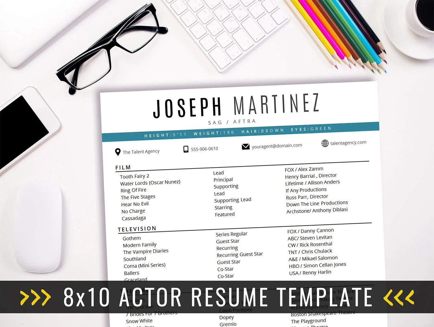 Actor Resume Template / 8 x 10 Acting Resume / Instant Digital Etsy