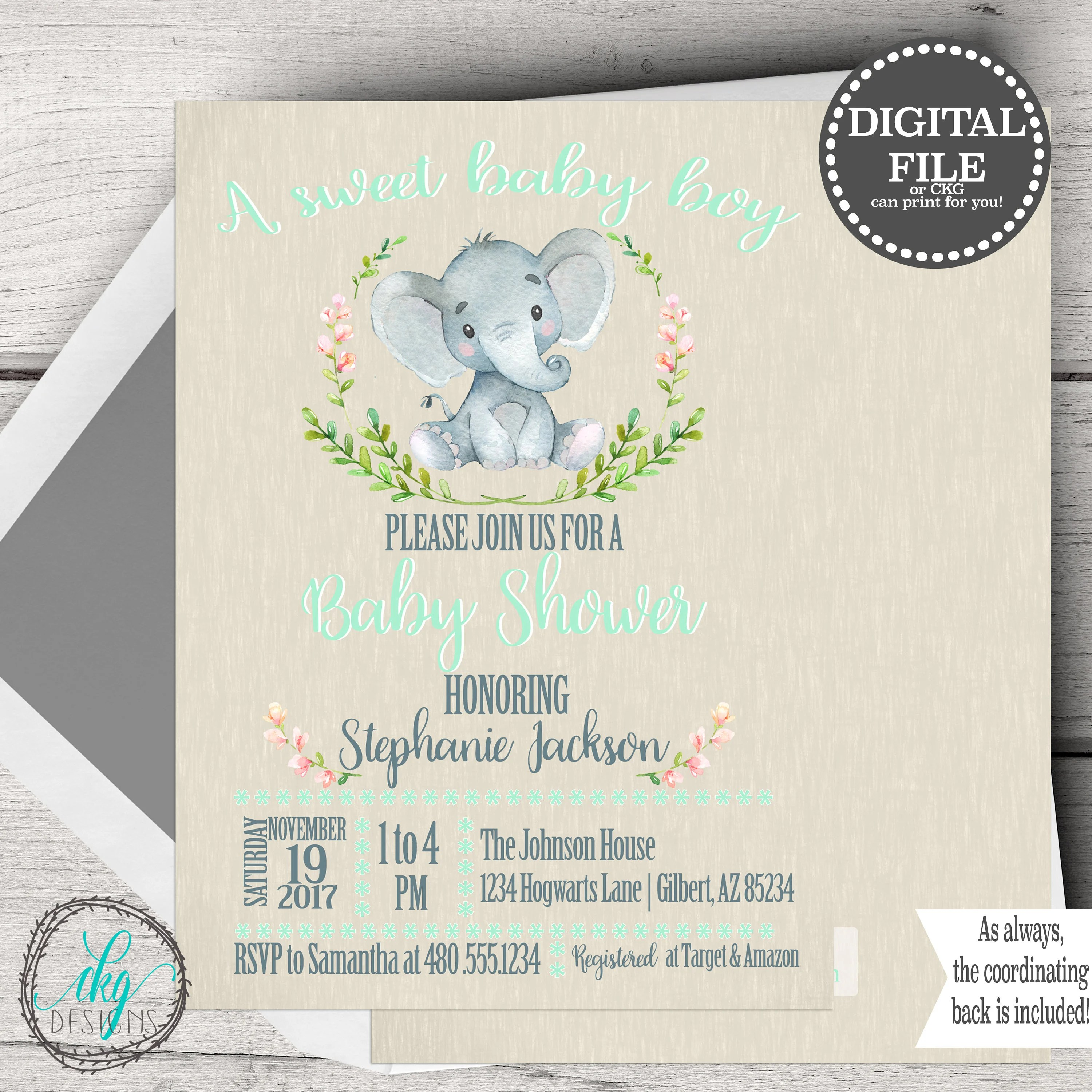 Elephant Baby Shower Invitations Elephant Baby Shower Etsy