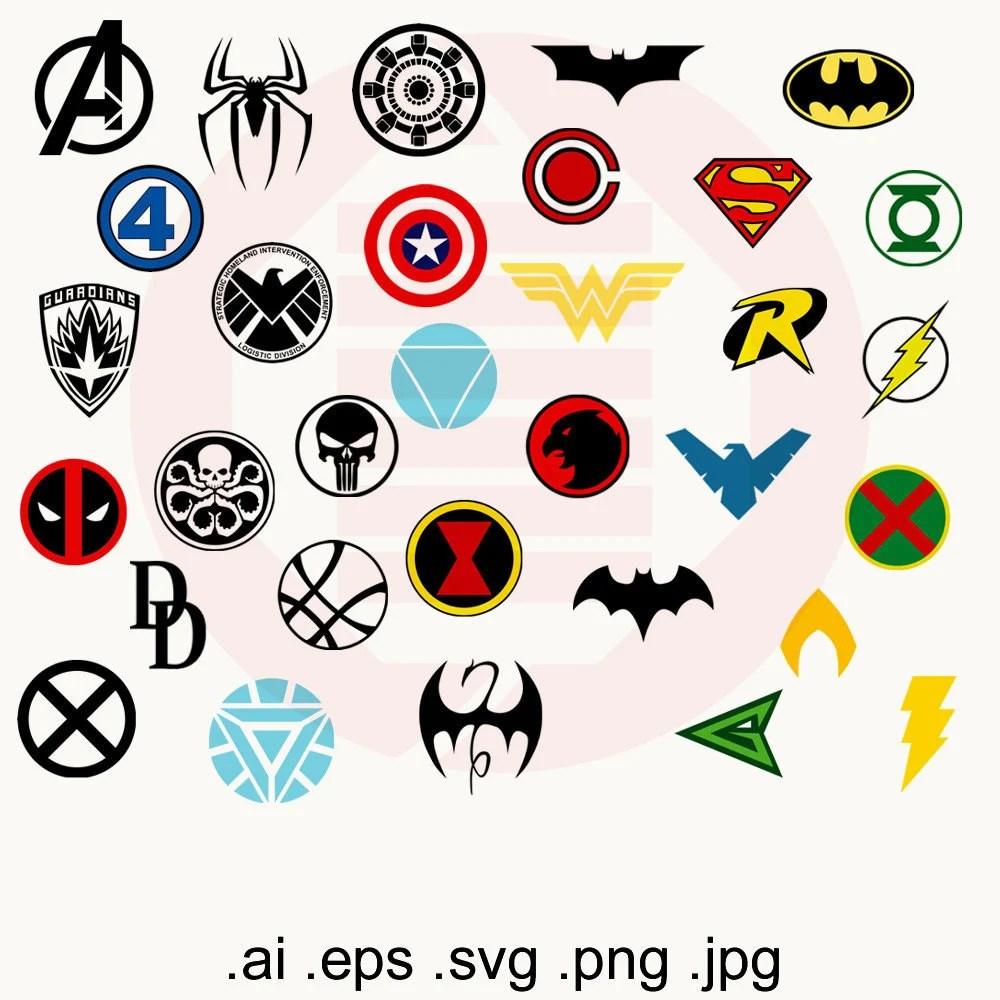 Superhero SVG Superheroes SVG clipart logos symbol Avengers Etsy