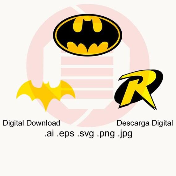 Batman symbol SVG Superhero logo SVG Robin Batgirl vector Etsy