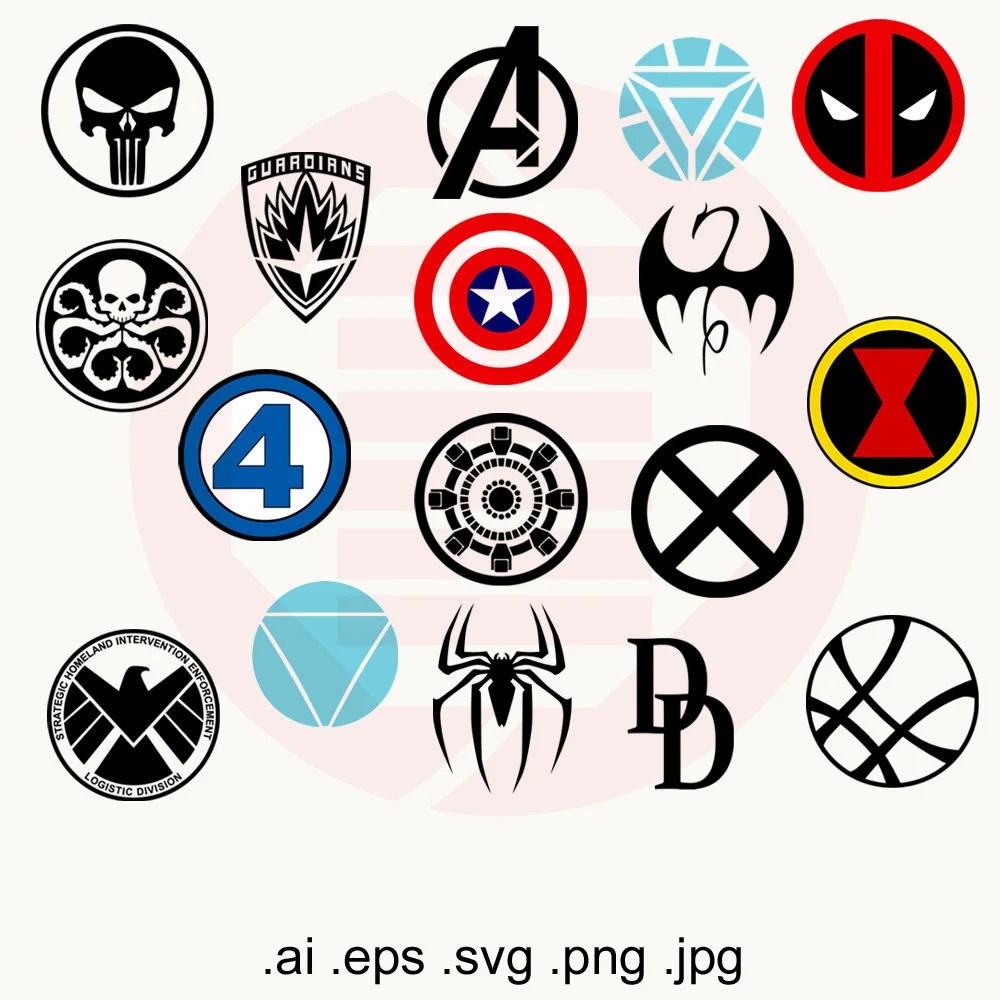 Superhero SVG Marvel Avengers SVG infinity war logo vector Etsy