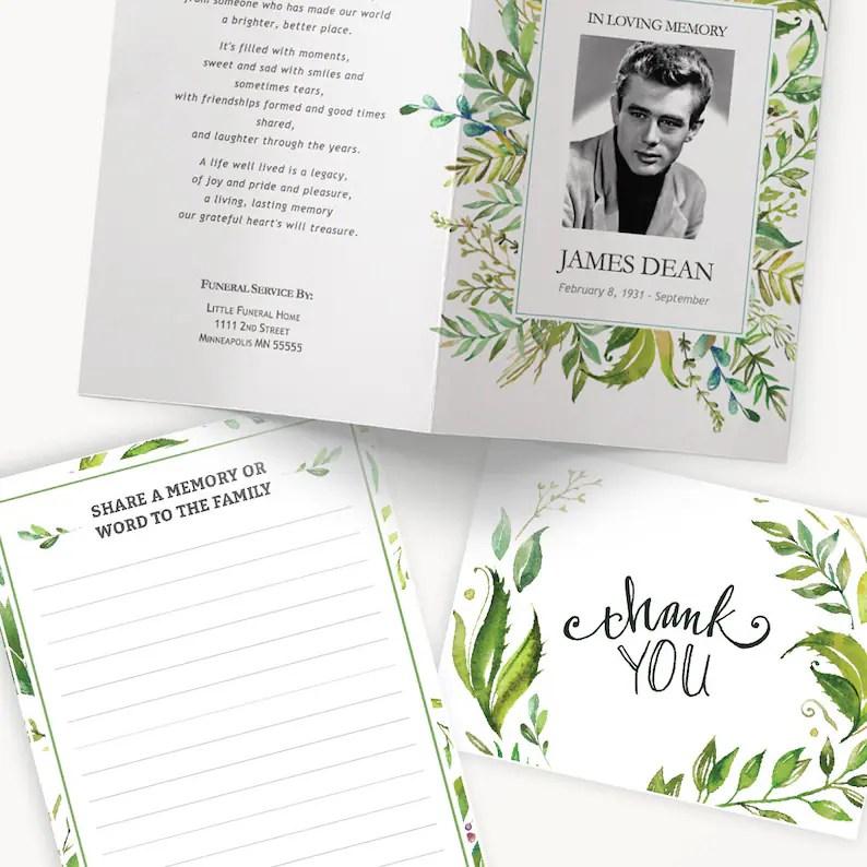 Funeral Template Bundle Printable Funeral Program Template Etsy