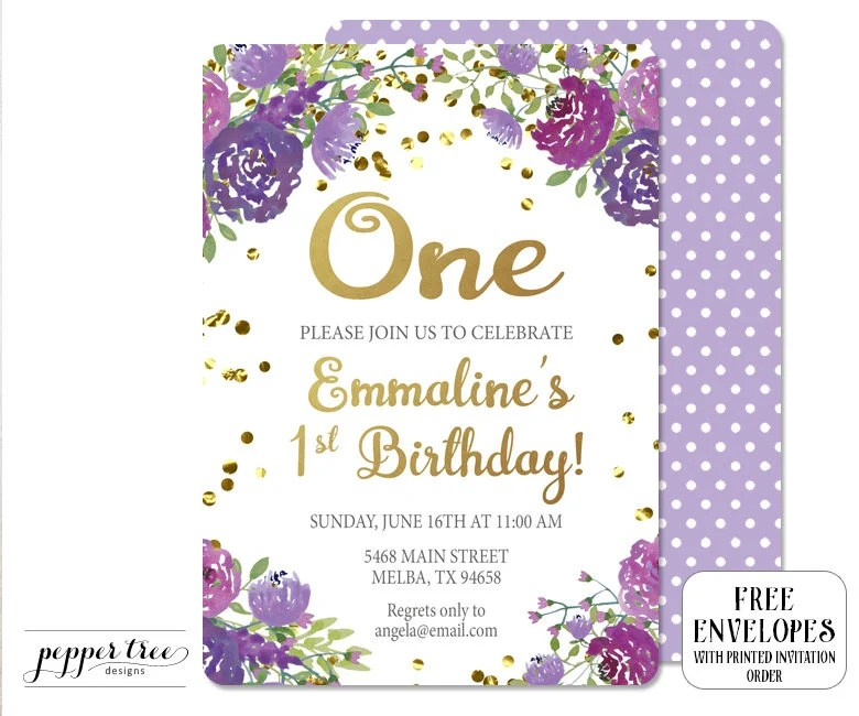 Purple Floral and Gold Birthday Invitation Girl Birthday Invitation