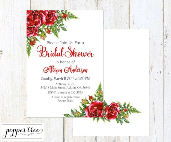 Bridal Shower Invitation - Red Roses Floral Digital You-Print