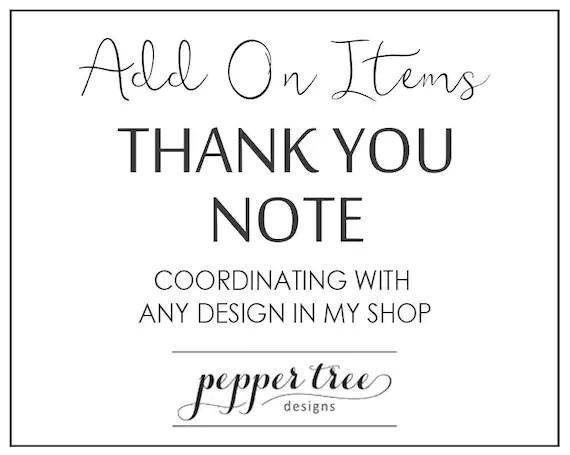 Coordinating Thank You Note - Birthday, Baby Shower, Bridal Shower
