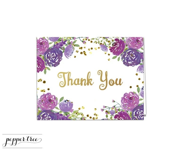 Thank You Note Purple Flowers and Gold Glitter - Blank Inside A2