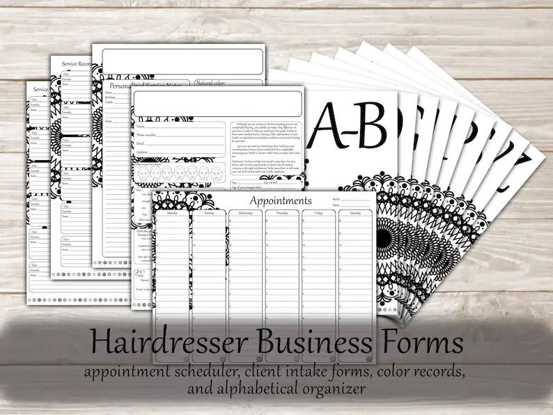 Hair Stylist Printable Business Forms Hairstylist Client Etsy