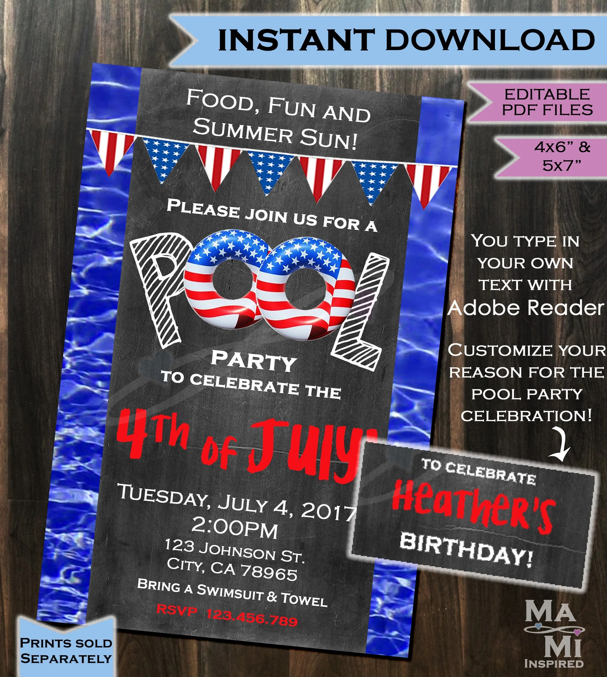 INSTANT DOWNLOAD Pool Party Invitation 4th of July Red Etsy