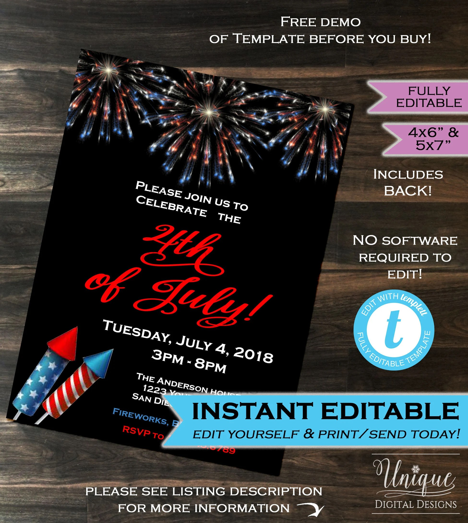 4th of July Party Invitation July 4 Invite Independence Day Etsy