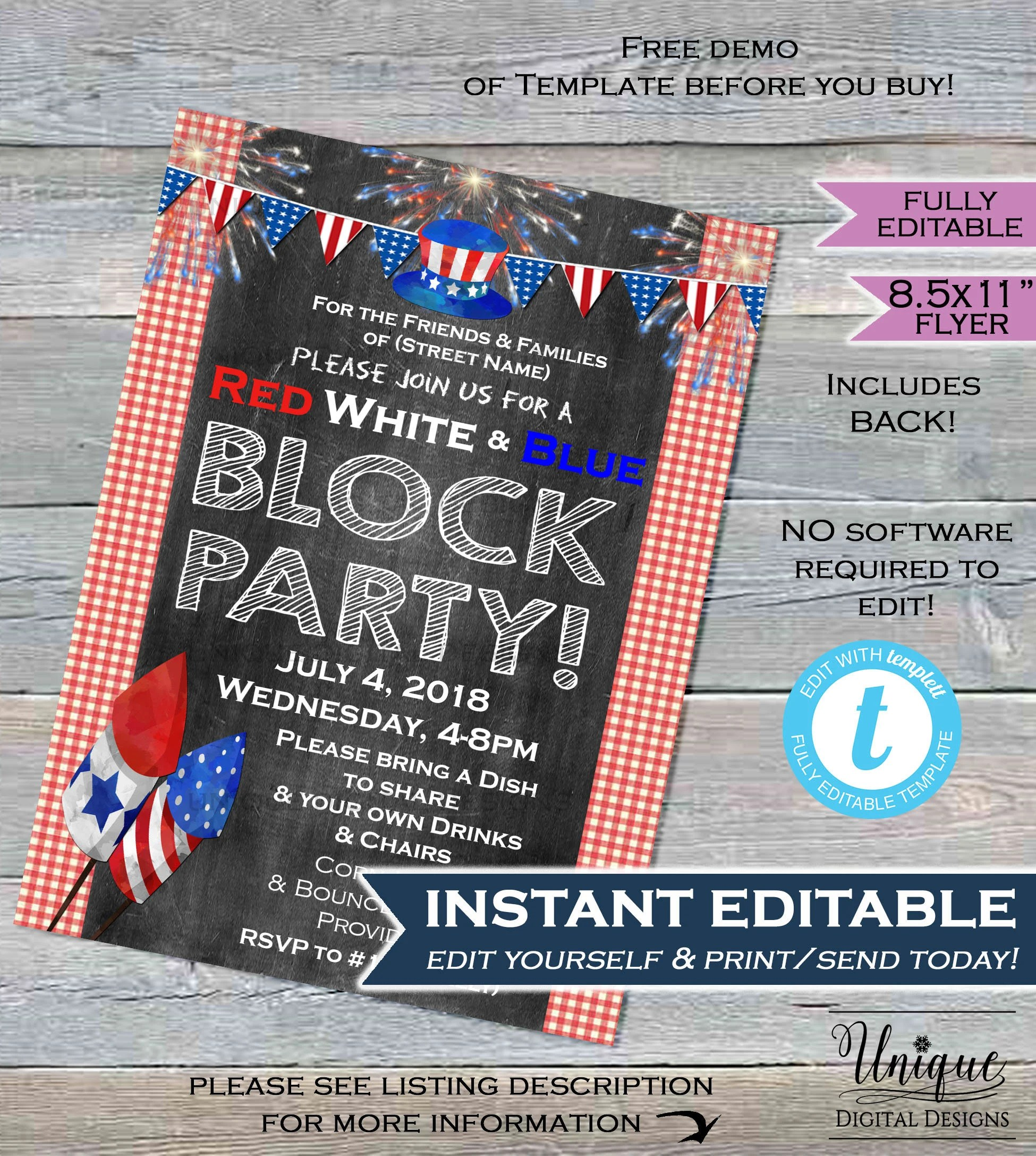 4th of July Block Party FLYER Invitation July 4th Party Red Etsy