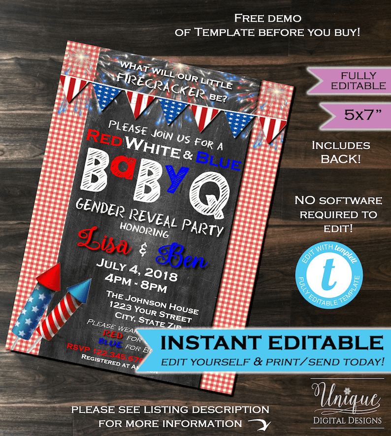 4th of July Gender Reveal Invitation July 4th Party Red White Etsy