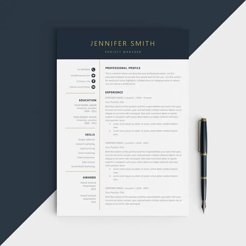 Modern resume template Modern CV for Microsoft word Etsy
