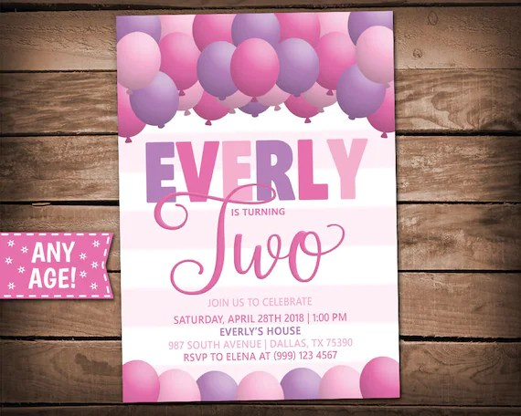 Balloons Party Invitation - Balloons Birthday Party - Balloons
