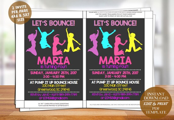 INSTANT DOWNLOAD-Jump invitation Girl Bounce house Etsy