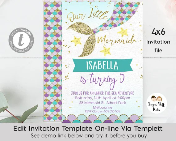 Editable 4x6 Mermaid Tail Birthday Invitation, Instant Download 4x6