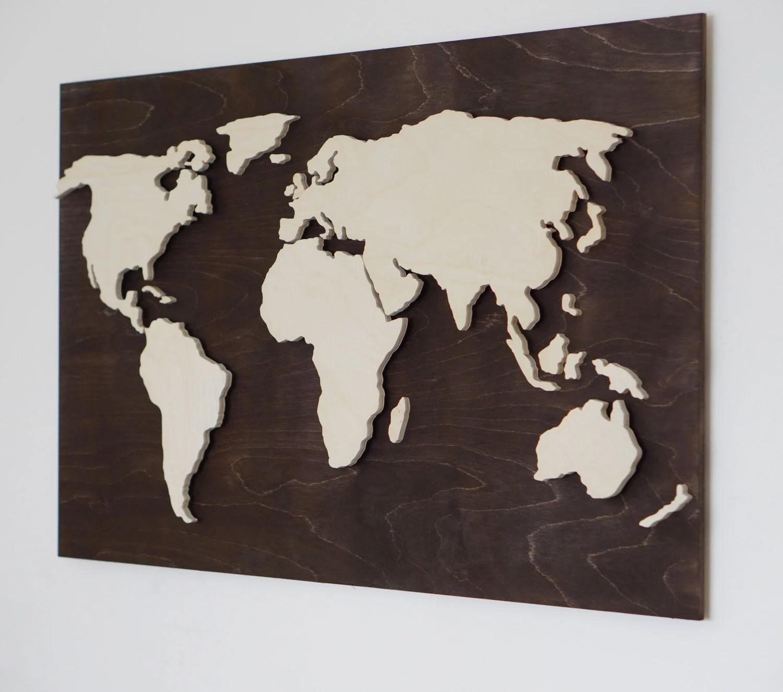 LED Wood World Map Black Edition abstract art World Map Etsy