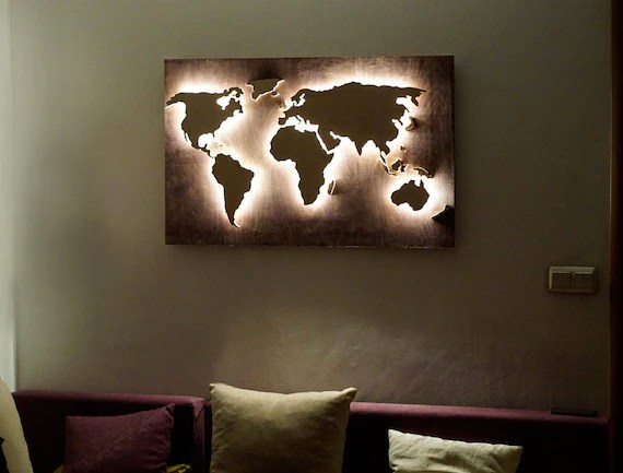 LED Wood World Map abstract art World Map hanging World Map 3d Etsy