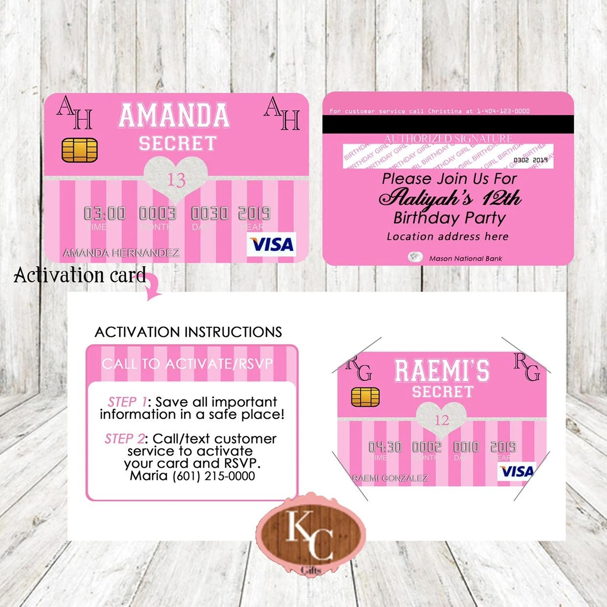 DigitalVictoria Secret Pink Party Decorations Credit Card Etsy
