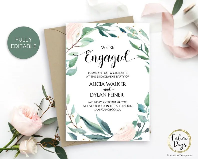 Engagement Party Invitation Template Printable Engagement Etsy