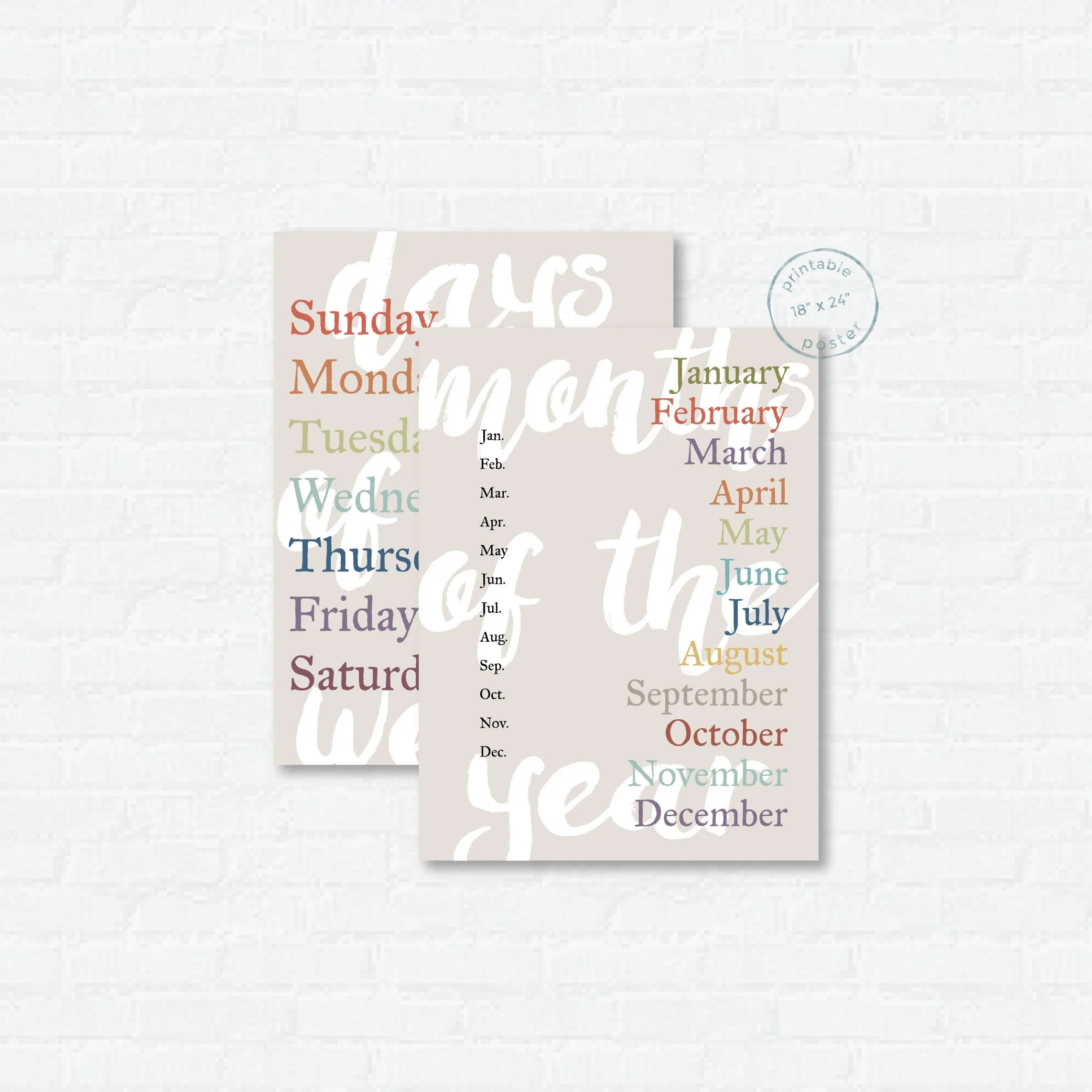 Days  Months Printable Poster Bundle Classroom or Etsy